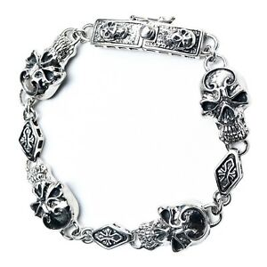 MEN SKULL 925 SOLID STERLING SILVER CROSS GOTHIC BRACELET ROCK BIKER UNIQUE