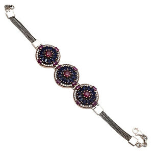 Natural RubySapphire Gemstone 925 Sterling Silver Bracelet Fine Turkish Jewelry