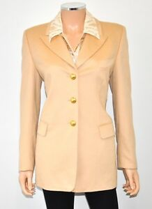 Luxury Designer ESCADA Camel Piacenza Blazer & Silk Blouse 2 Pc Set - Sz 3634