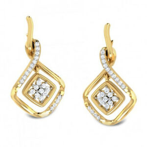 Engagement Wedding Jewelry Gold Polished  Diamond Earrings for Party Jewelry