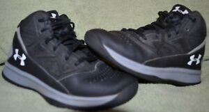Under Armour Boys High Top Basketball Shoes Black Gray Size 2Y GUC