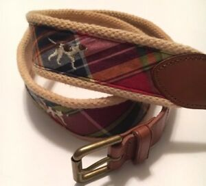 Polo Ralph Lauren Multi Color Belt Hunting Dog Design 36 NWT $98