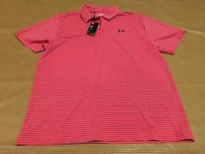 NWT UA Golf Under Armour Polo Heat Gear Loose 2XL UPF 30 Salmon And Gray New