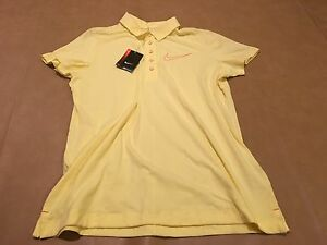 NWT Nike Golf Women Polo Shirt Sport Yellow Slim Fit Dri Fit XL New