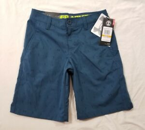NWT Under Armour Golf Youth Boys Blue Loose Athletic Golf Shorts Size Small YSM