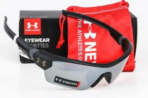 NEW UNDER ARMOUR MENACE SUNGLASSES Satin Black  Game Day lens UA YouthKids Fit