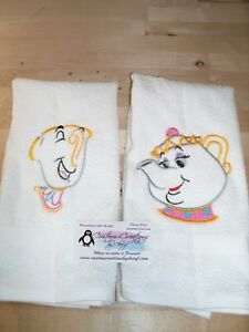 Beauty Beast Chip Potts  Sketch Personalized Dish Kitchen Hand Towels ANY COLOR