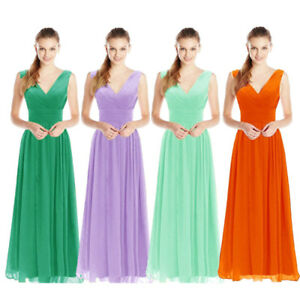 Women Chiffon Long Lace Evening Formal Party Ball Gown Prom Bridesmaid Dress