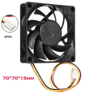 Quiet 7cm70mm70x70x15mm 12V Computer Silent Cooling Case Fan 3Pin 25cm Length