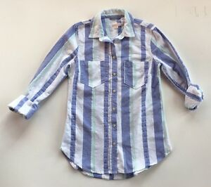 Women's Merona Blue, Mint Green and White Striped Button Down Top Size XS