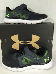 UNDER ARMOUR BPS The Shift Boys Size 2 Black Athletic Sneakers Shoes X11-817