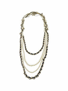Chanel Black Leather Pearl Gold Mutliple Chain 2017 Necklace