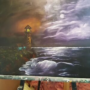 Seashore  lighthouse oil painting $50.00
