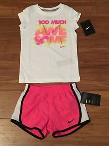 4T NIKE Girls White TOO MUCH AWESOME Tee Shirt Top & Pink Running Shorts Set Lot