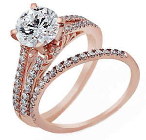 4.50 ct Round Brilliant GIA Certified Vintage Design 18K Rose Gold Wedding Set