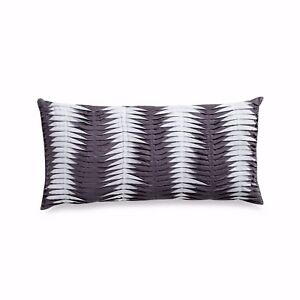DKNY Willow Slate Grey Decorative Oblong Toss Pillow Ruched White Pleats Shabby