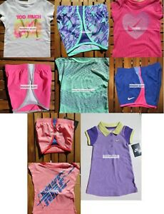 NIKE GIRLS 2T ~ 9pc SUMMER RUNNING SHORTS  T-SHIRTS ~ PURPLE DRESS ~ $207 NEW