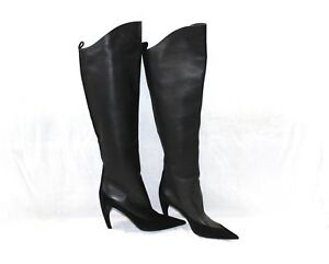 NEW Louis Vuitton Black Leather and Suede Over the Knee Boots Size 39 US Size 8