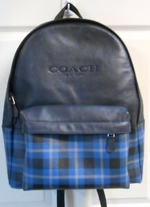 COACH NWT Backpack Black Blue Charles Print MSRP $550 Laptop Sleeve GORGEOUS!