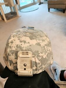 US Army Military Advanced Combat Helmet ACH Kevlar + Mount Pads Size L used war!