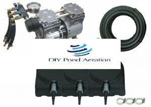 NEW Large POND Aeration Kit 2-4 Acres 300' SINK Tube +3 Diffusers + 3 way valve!