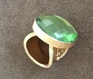 Stephanie Kantis Ring 24K  Gold Plated Bronze Casablanca Faceted Green Crystal