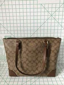 Coach F29208 Zip Top Tote In Signature Coated Canvas in Brown Saddle2