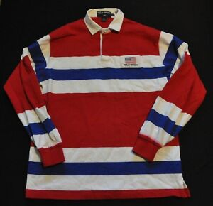 VTG 90's Polo Sport Ralph Lauren Royal Blue Red White Rugby Shirt L USA US