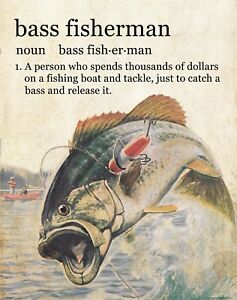 Largemouth Bass Fisherman Motivational Poster Print  Vintage Fishing Lures WEB01