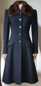 DOLCE AND GABBANA SABLE TRIMMED BOUCLE COAT IT 40 UK 8