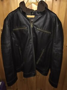 Guess Men  Leather Hoodie Jacket Excellent Condition Brown Size XXL