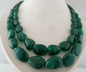 FINE 24MM 2LINE 892CTS NATURAL ZAMBIAN EMERALD BEADS CABOCHON LADIES NECKLACE