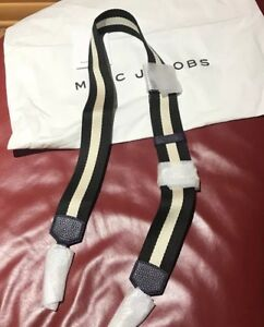 Marc Jacobs Unique Black -white canvas&Nightshade Leather Bag strap dust bag