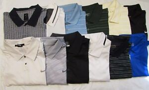 12 Nike Dri FitGolf Woods Polo Shirts XL Cotton Multi Color Solids