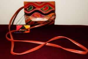 Vtg Printed Gallery Hand Painted Leather Purse Shoulder Bag Crossbody Purse NWT