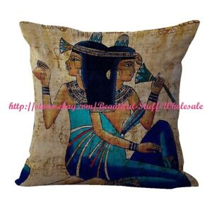 brunette girl Ancient Egyptian art cushion cover throw pillow cases $14.89