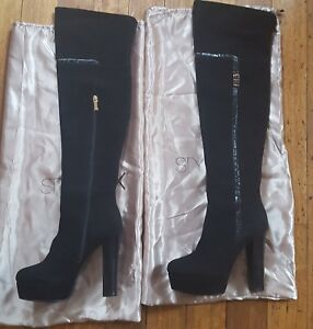 Super sexy elegant black thigh high boots in fine suede size 8 39