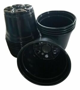 6 inch Round Black Plastic Pots - SET OF 15 - (6