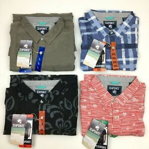 NEW Men's Hawaiian Tropical Button Front Shirt Soft Tech Woven S/S by Seapointe