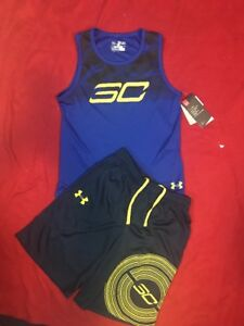 Under Armour Youth Boy 2Pc Set Curry Sleeveless Top Dual Pockets Shorts Sz YMD