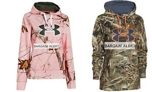 UNDER ARMOUR 2 x PINK CAMOUFLAGE REALTREE HOODIE SWEATSHIRT ~ Medium ~ BNWT $150