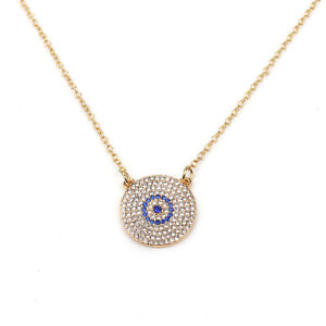 Fashion Jewelry Evil Eye Crystal Pendant Turkish Gold Silver Necklace 60-4