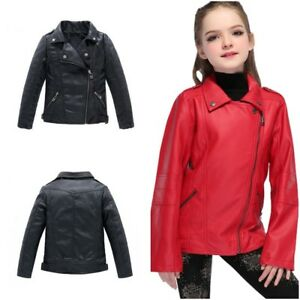 Girls Faux Leather Jacket For Casual Outerwear For Spring Autumn Leather Jackets