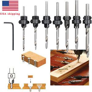 22Pc Tapered Drill amp; Countersink Bit Screw Set Wood Pilot Hole Woodworking Tool