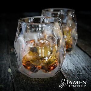 James Bentley Double Wall Whisky Glass plus 2 free ice ball molds