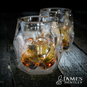 James Bentley double wall Whisky Glasses plus 2 free ice ball molds