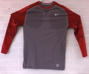 Nike Pro Tight Fit Long Sleeve Thermal Baseball Shirt Mens Size 2XL Red Gray