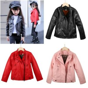 Kids Leather Jackets Girls For Spring Autumn With Solid Turn Down Collar Coats