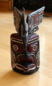 Antique Original Hand Carved Painted Mask Pacific Coast First Nation Early 1900
