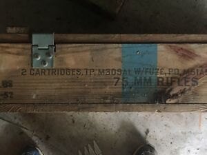 Vintage Old AMMUNITION CRATE Lidded CANNON BOX Case Rare 75 MM RIFLES